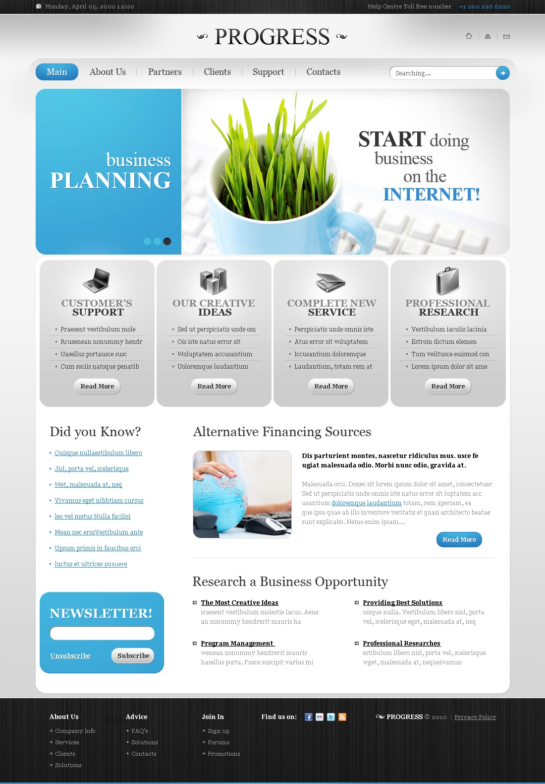 The Progress Business Company PSD Design 54079, one of the best PSD templates of its kind (business, flash 8, wide), also known as progress business company PSD template, corporate solutions PSD template, innovations PSD template, contacts PSD template, service PSD template, support PSD template, information dealer PSD template, stocks PSD template, team PSD template, success PSD template, money PSD template, marketing PSD template, director PSD template, manager PSD template, analytics PSD template, planning PSD template, limited PSD template, office PSD template, sales and related with progress business company, corporate solutions, innovations, contacts, service, support, information dealer, stocks, team, success, money, marketing, director, manager, analytics, planning, limited, office, sales, etc.