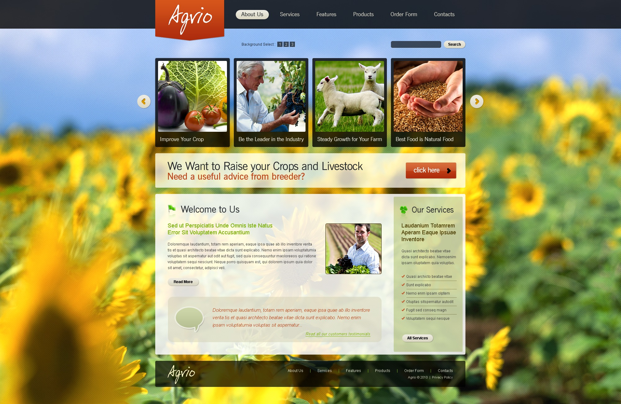 The Agrio Agriculture Company PSD Design 54098, one of the best PSD templates of its kind (agriculture, wide, jquery), also known as agrio agriculture company PSD template, business PSD template, grain-crops PSD template, cereals PSD template, field PSD template, combine PSD template, harvest PSD template, farming PSD template, plants PSD template, services PSD template, products solutions PSD template, market PSD template, delivery PSD template, resource PSD template, grassland PSD template, equipment PSD template, nitrates PSD template, fertilizer PSD template, clients PSD template, partners PSD template, innovations PSD template, support PSD template, information dealer PSD template, stocks PSD template, team and related with agrio agriculture company, business, grain-crops, cereals, field, combine, harvest, farming, plants, services, products solutions, market, delivery, resource, grassland, equipment, nitrates, fertilizer, clients, partners, innovations, support, information dealer, stocks, team, etc.