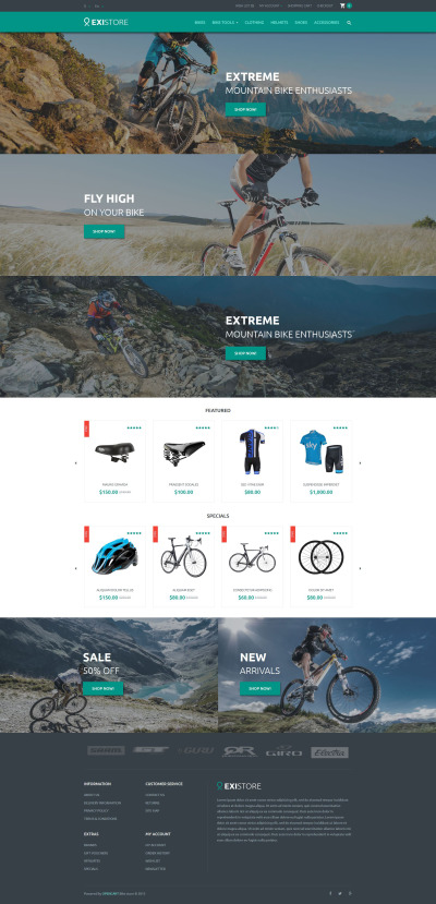 Адаптивный OpenCart шаблон №54056 на тему велосипеды #54056