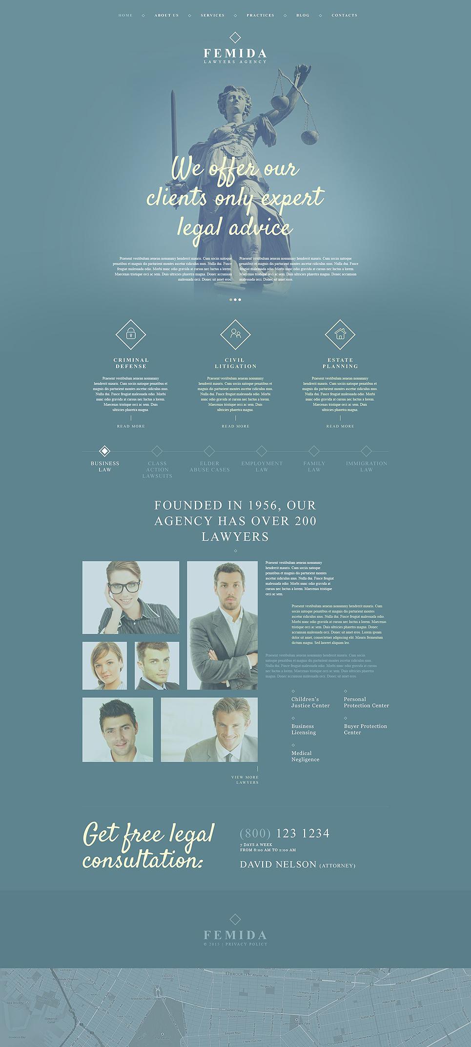 Адаптивный шаблон сайта на тему юридическая фирма #54001