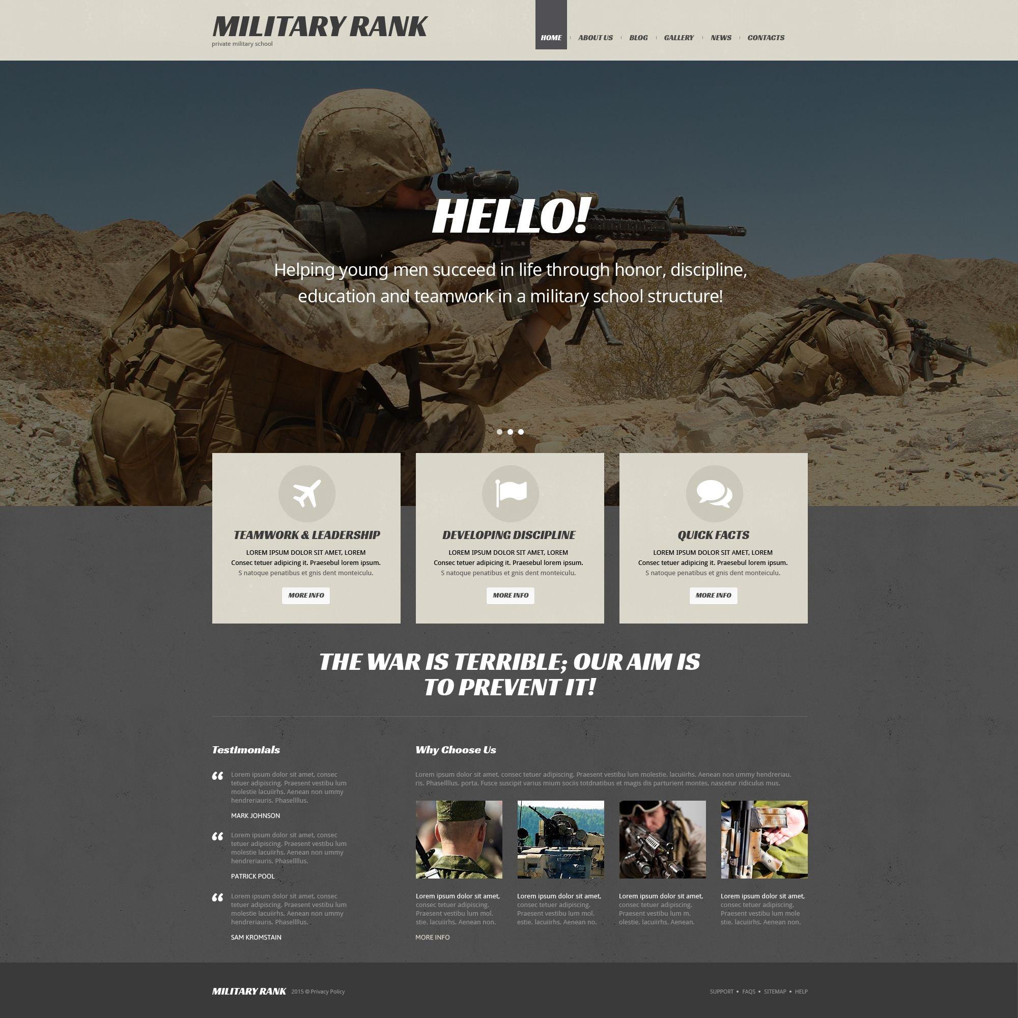 Адаптивный WordPress шаблон №54035 на тему военная школа - скриншот