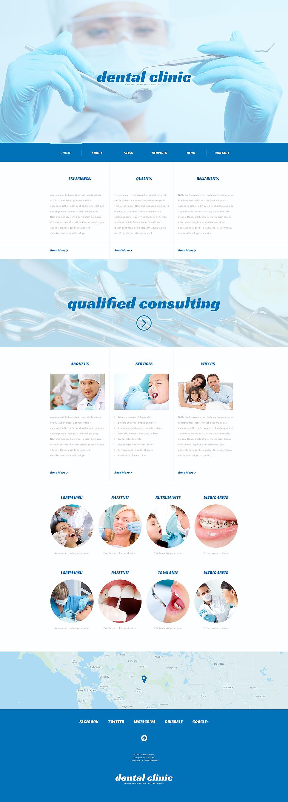Адаптивный шаблон сайта на тему стоматология #54041