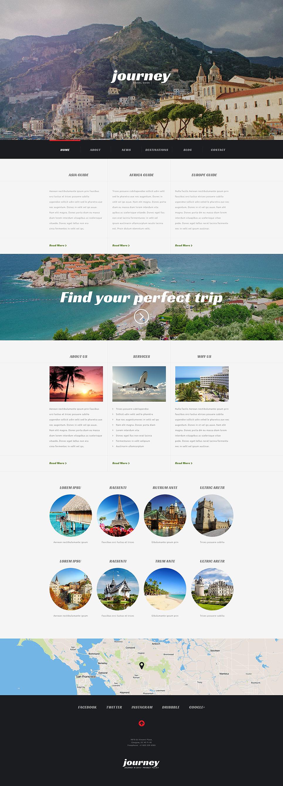 Адаптивный шаблон сайта на тему агентство путешествий #54044