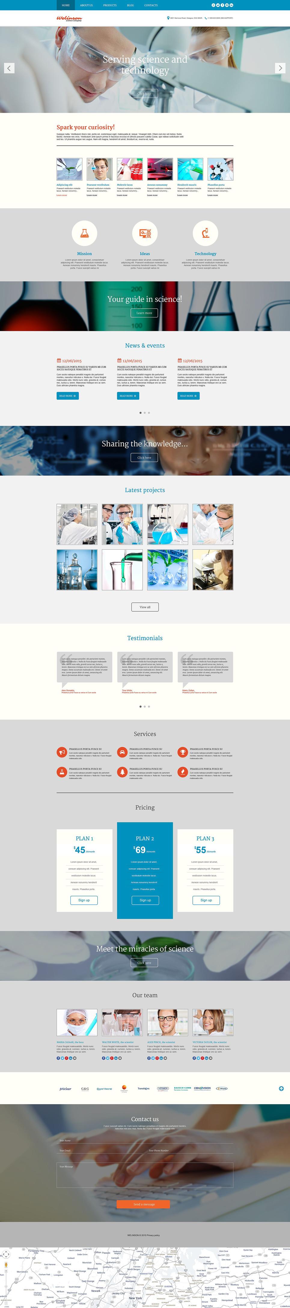 Адаптивный шаблон сайта на тему научная лаборатория #54046