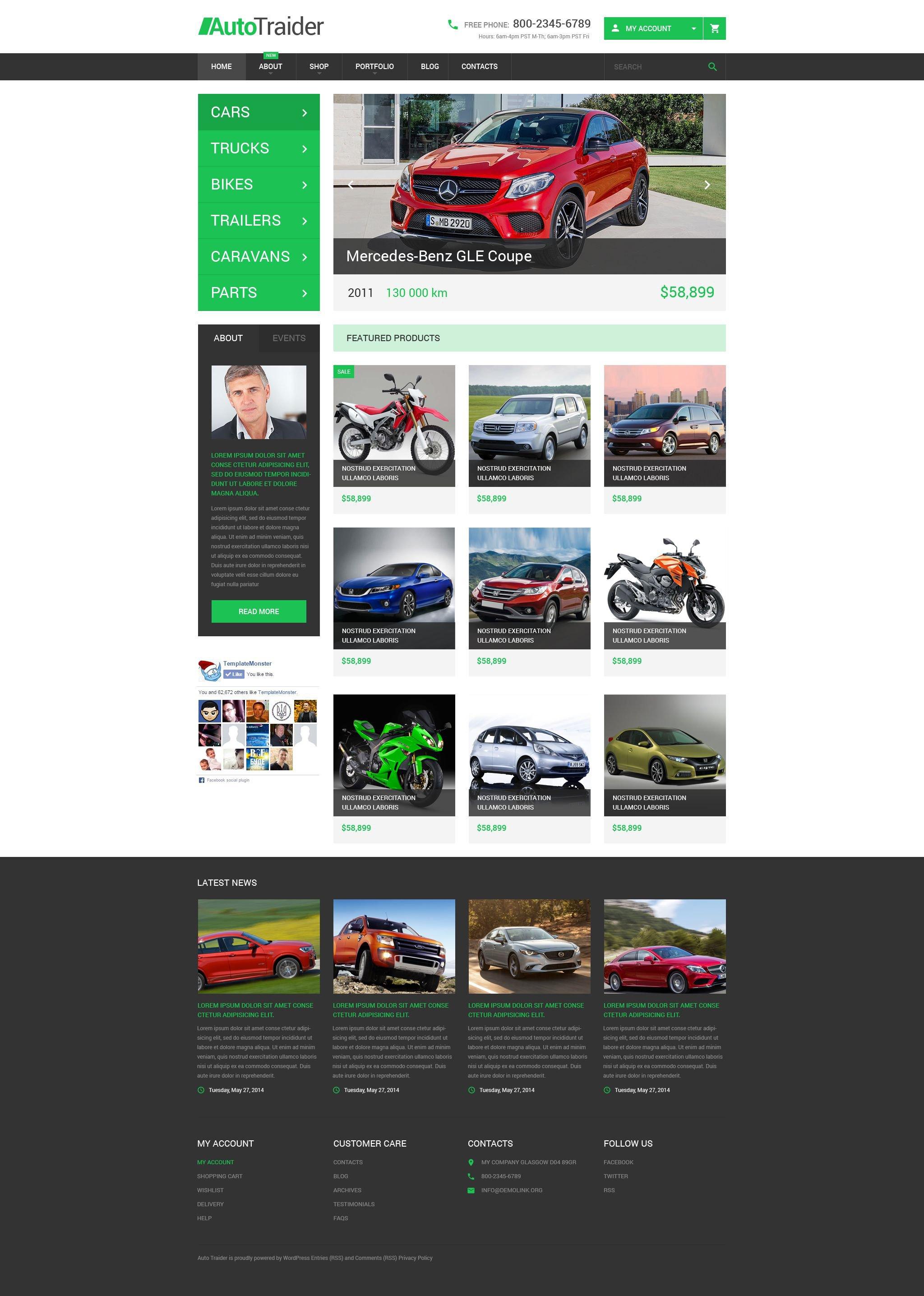 """AutoTraider"" - адаптивний WooCommerce шаблон №54047"