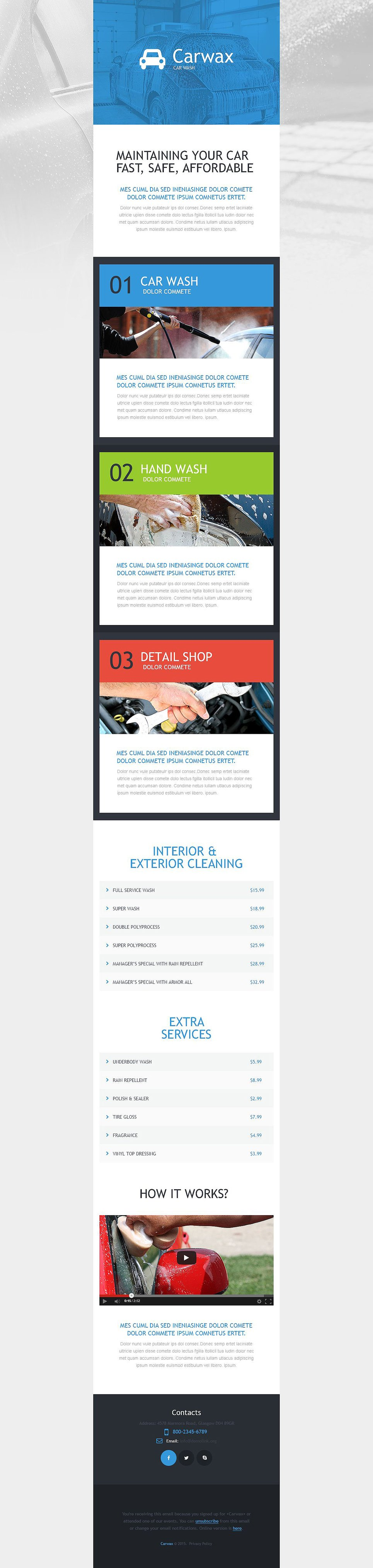 car wash responsive newsletter template  54023