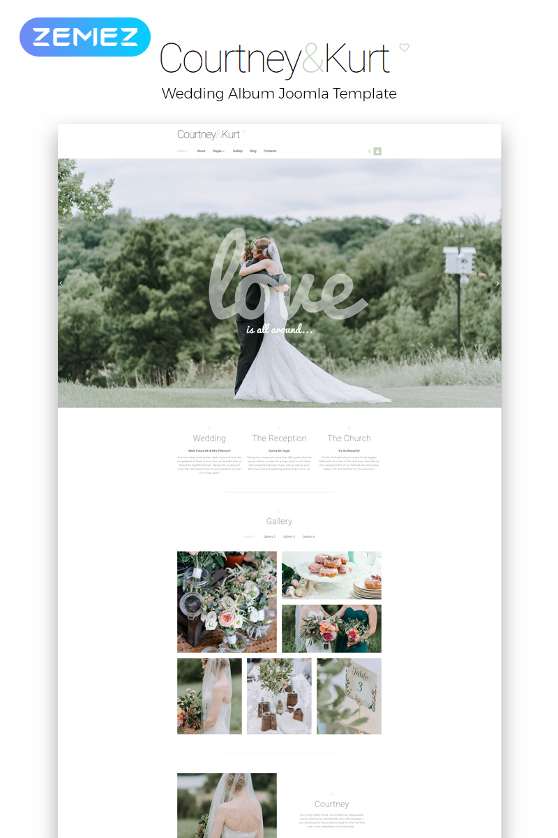 """Courtney & Kurt - Wedding AlbumCreative"" - адаптивний Joomla шаблон №54027 - скріншот"