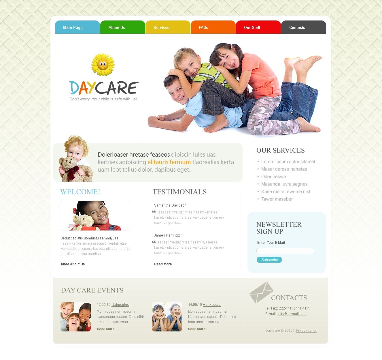 Day Care PSD Template