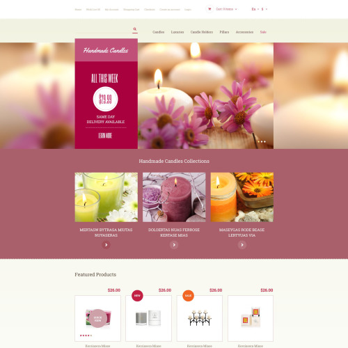 Handmade Candles - OpenCart Template based on Bootstrap