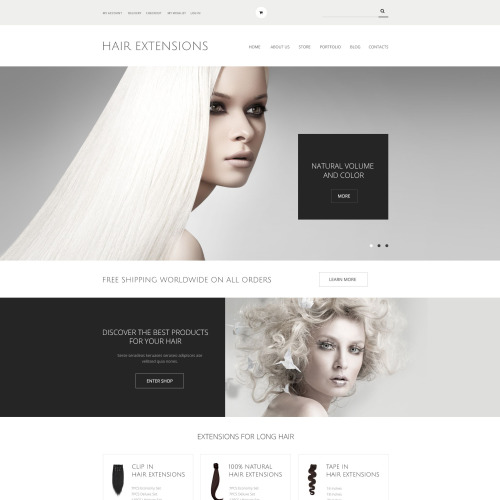 Hair Extensions  - WooCommerce Template based on Bootstrap