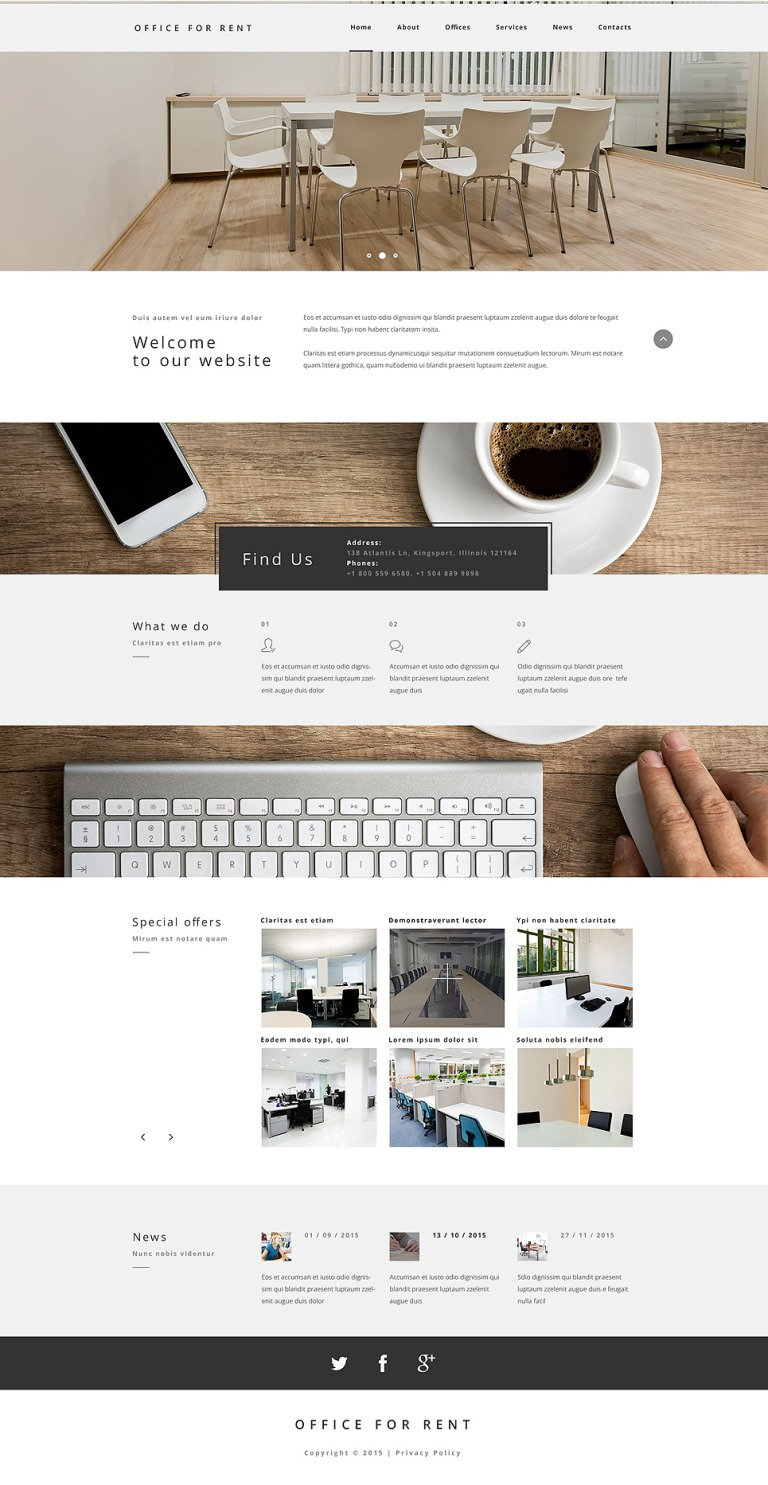 Office for Rent Website Template New Screenshots BIG