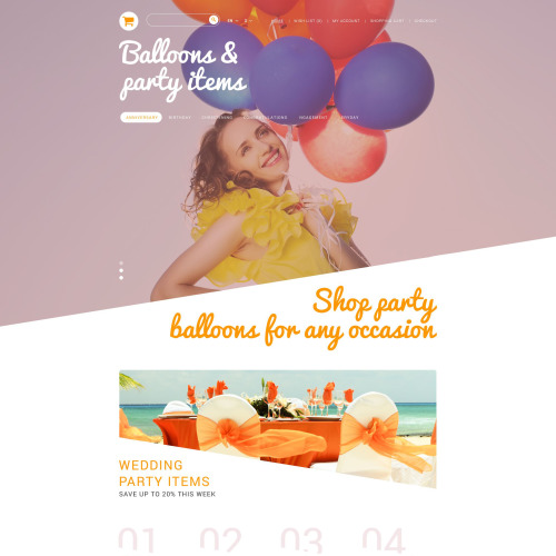 Balloons And Party Items - PrestaShop Template based on Bootstrap