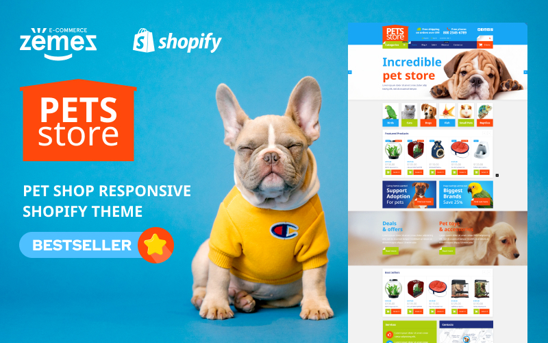 """Pet Shop Responsive"" - адаптивний Shopify шаблон №54004"