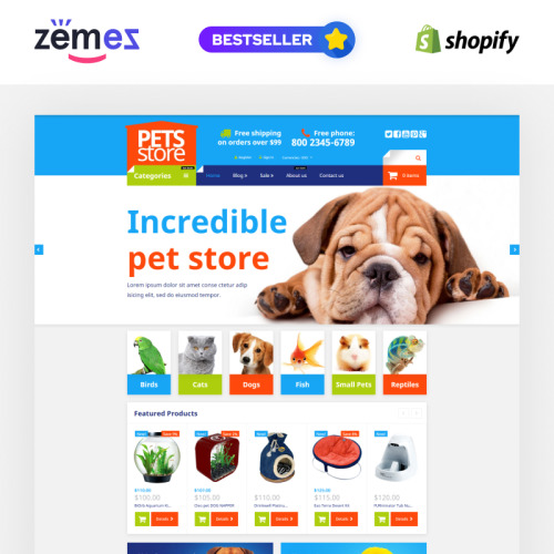 Pets Store - Shopify Template based on Bootstrap