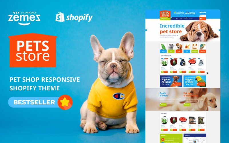 """Pet Shop Responsive"" thème Shopify adaptatif #54004"