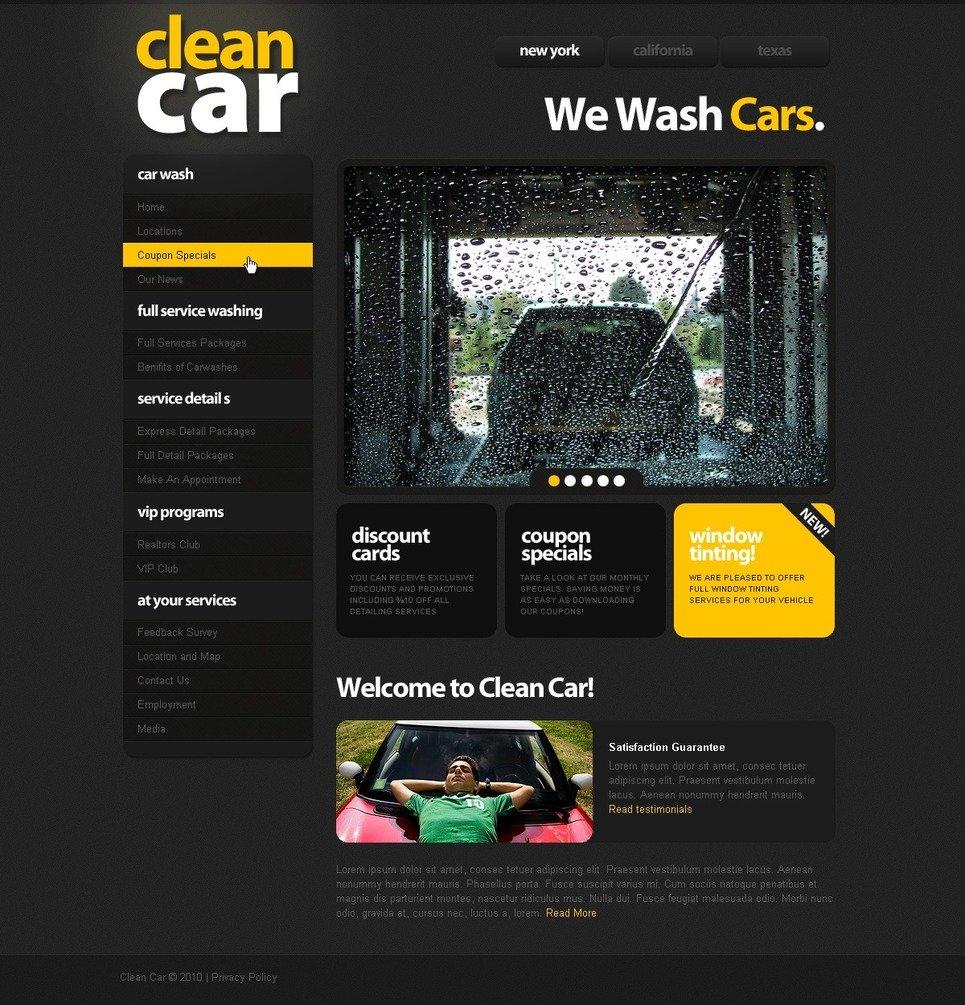 Plantilla PSD #54072 para Sitio de Lavado de autos