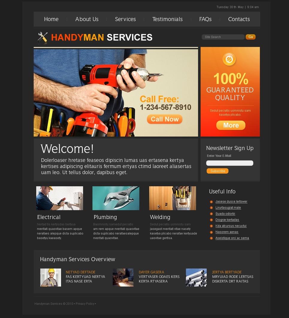 Plantilla PSD #54071 para Sitio de Reparaciones del hogar