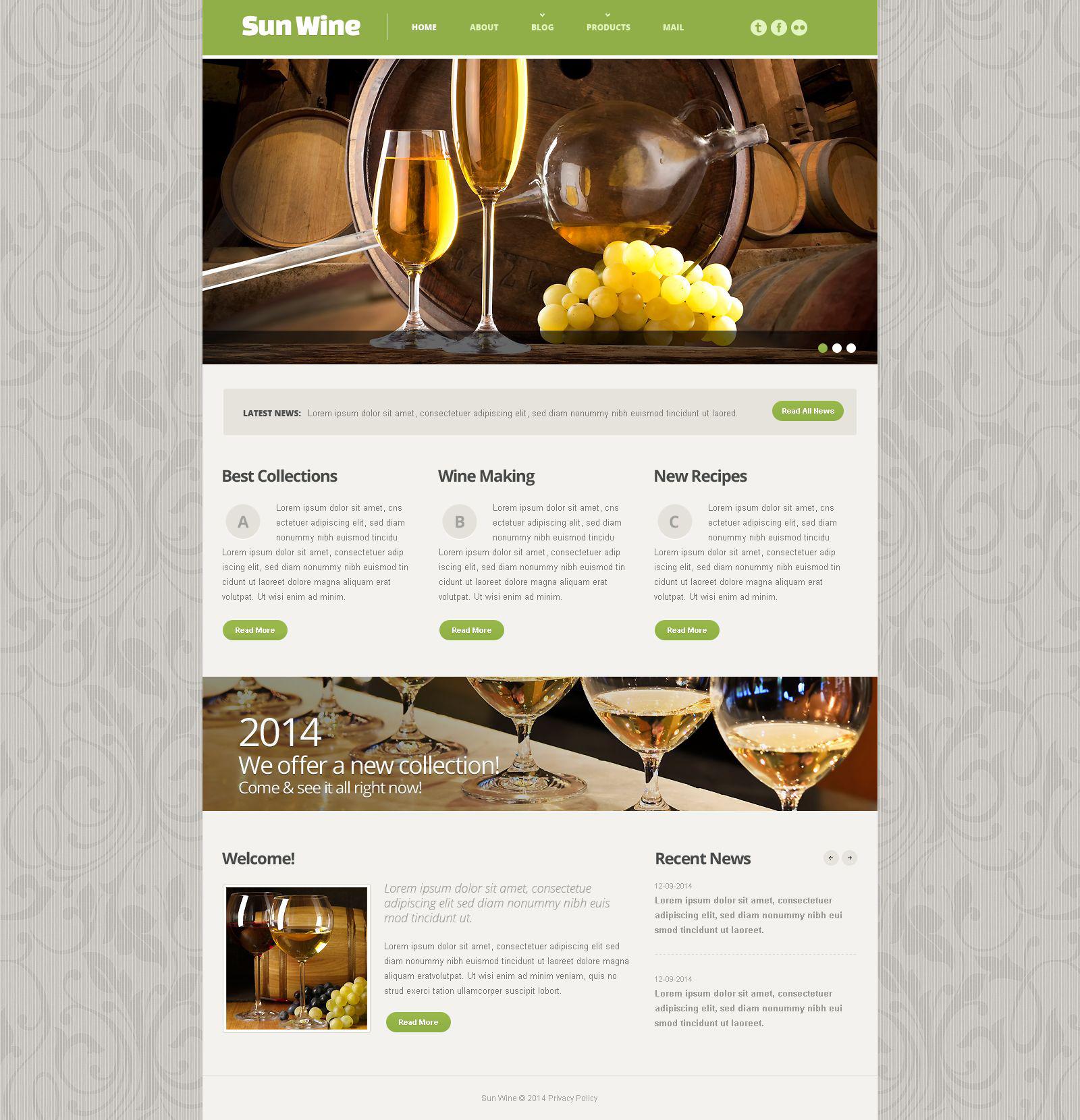 Plantilla Web Responsive para Sitio de Vino #54014