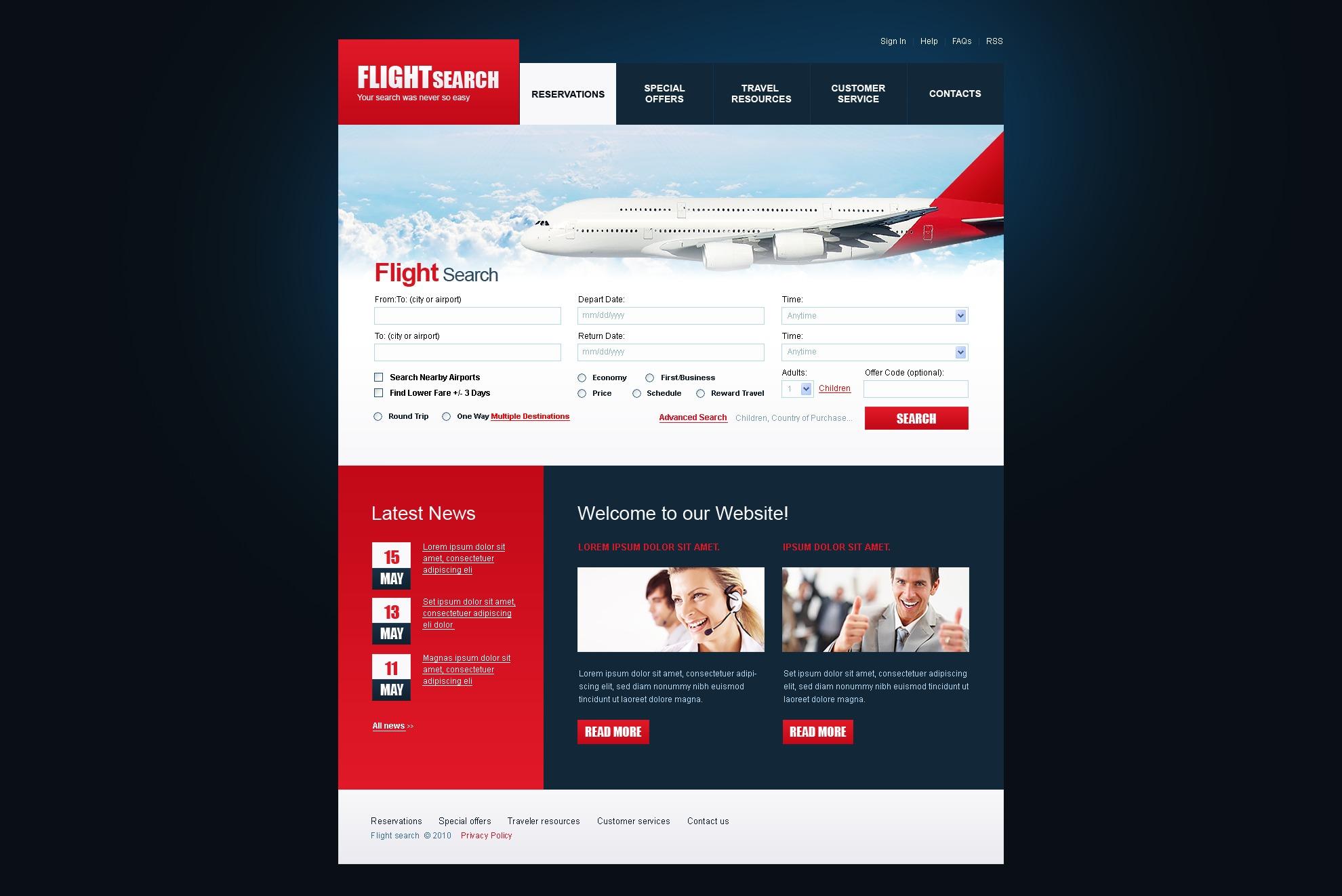 Psd Vorlage Für Web Flugtickets 54086