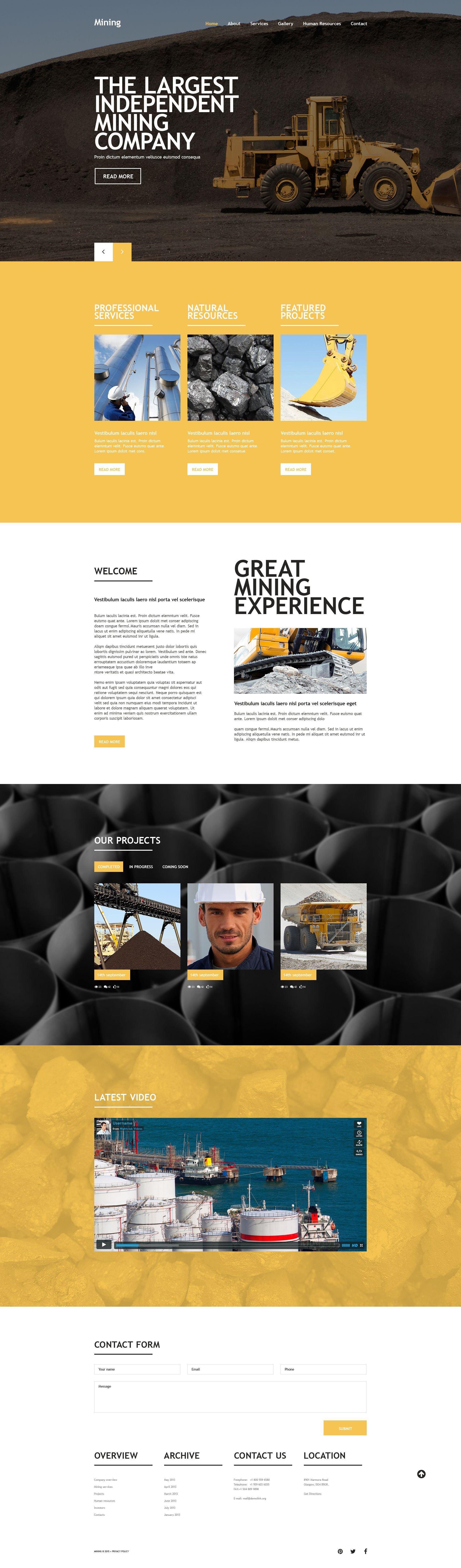 Responsywny szablon strony www Mining Company #54019