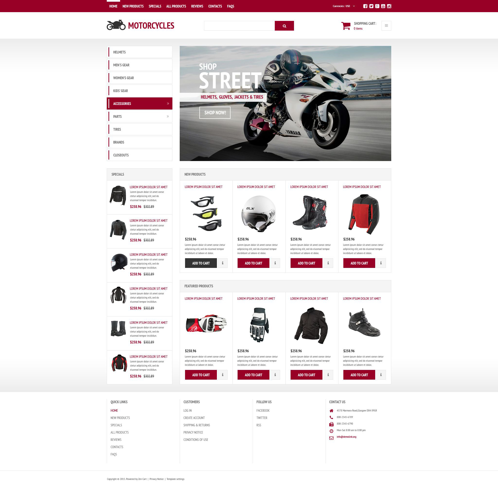 """Stylish Online Shop"" Responsive ZenCart template №54030"
