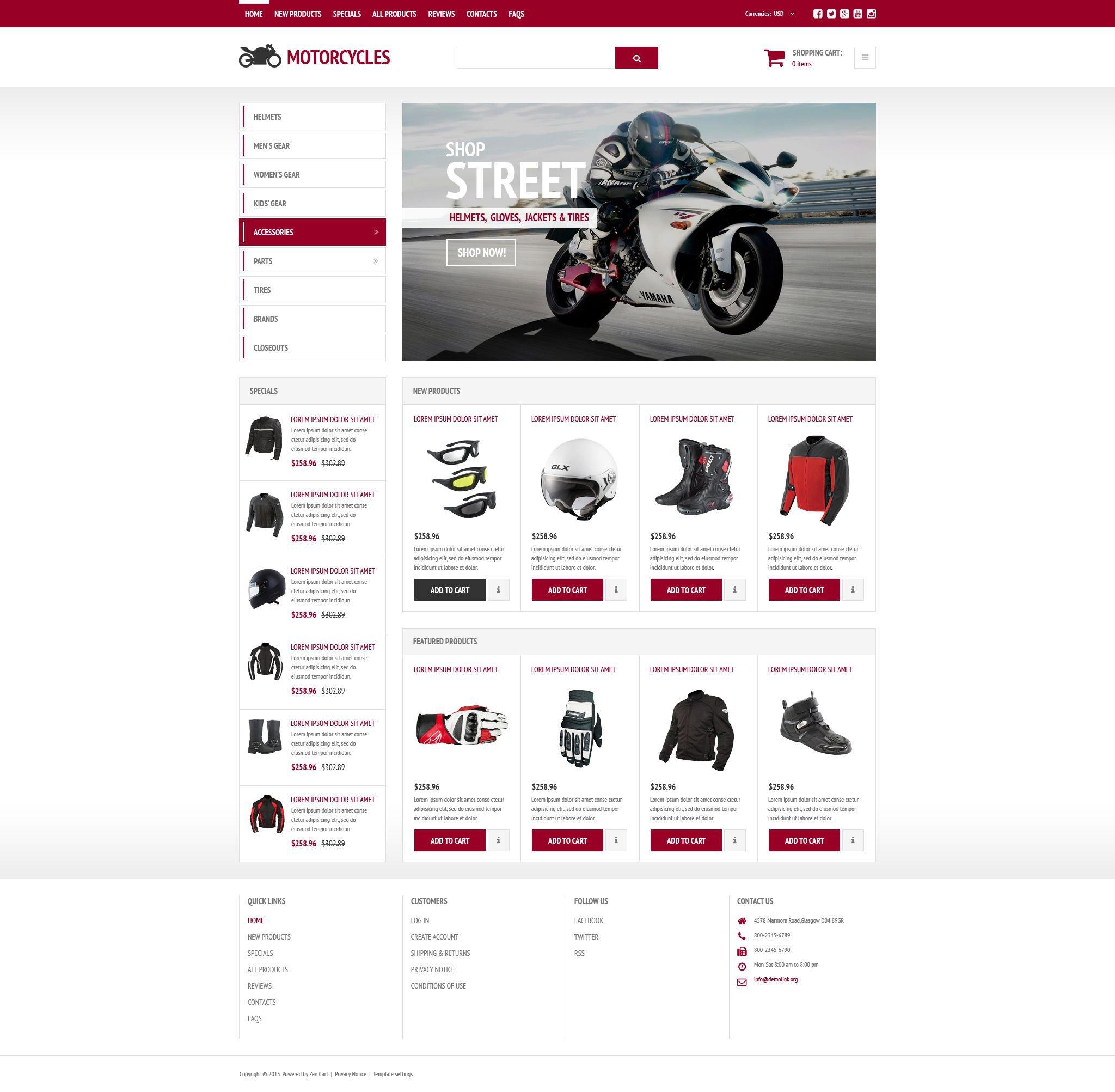 """Stylish Online Shop"" 响应式ZenCart模板 #54030"