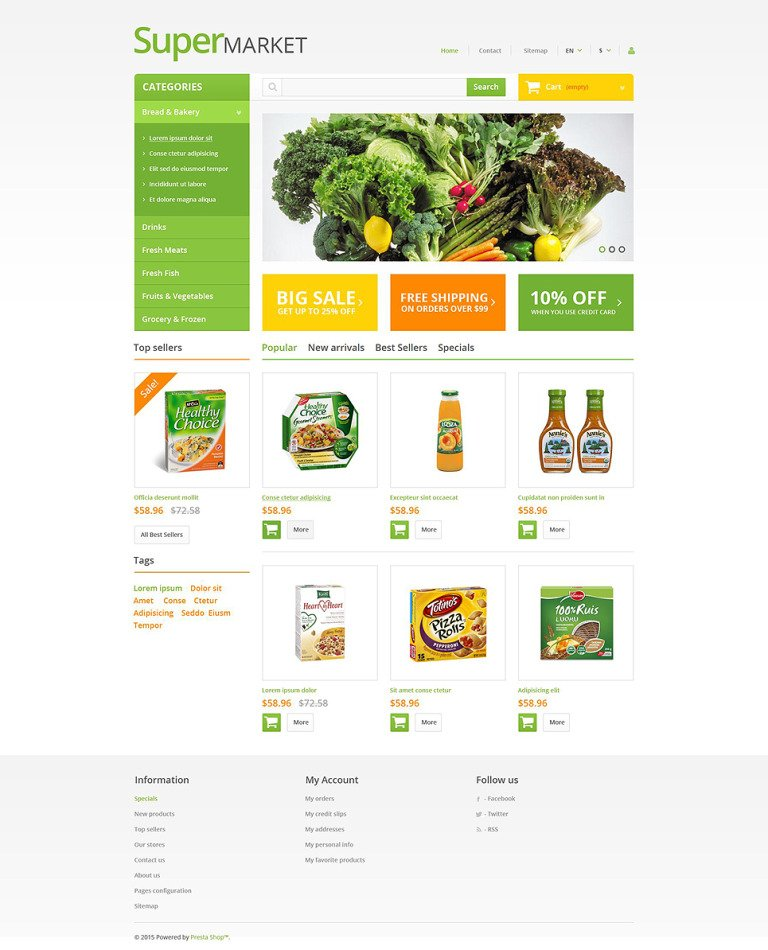 Supermarket PrestaShop Theme New Screenshots BIG