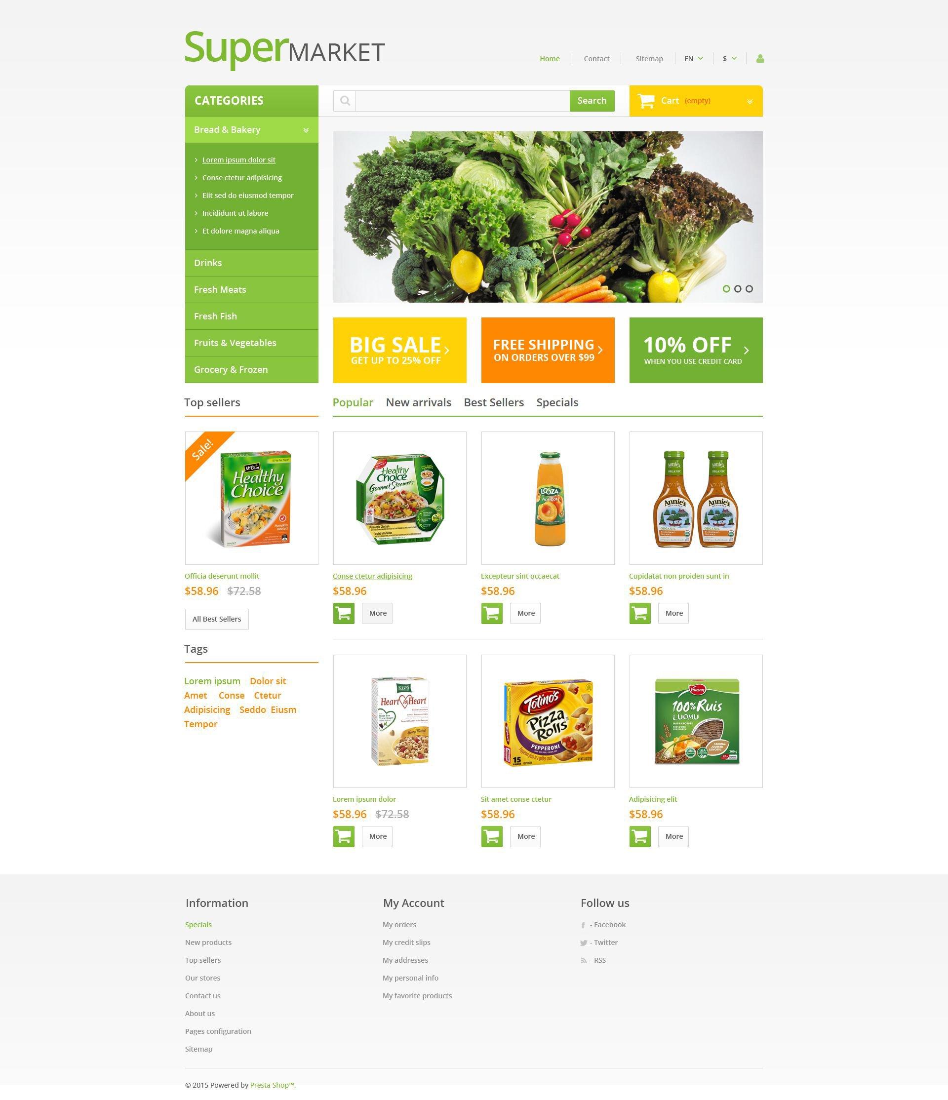 Supermarket PrestaShop Theme - screenshot
