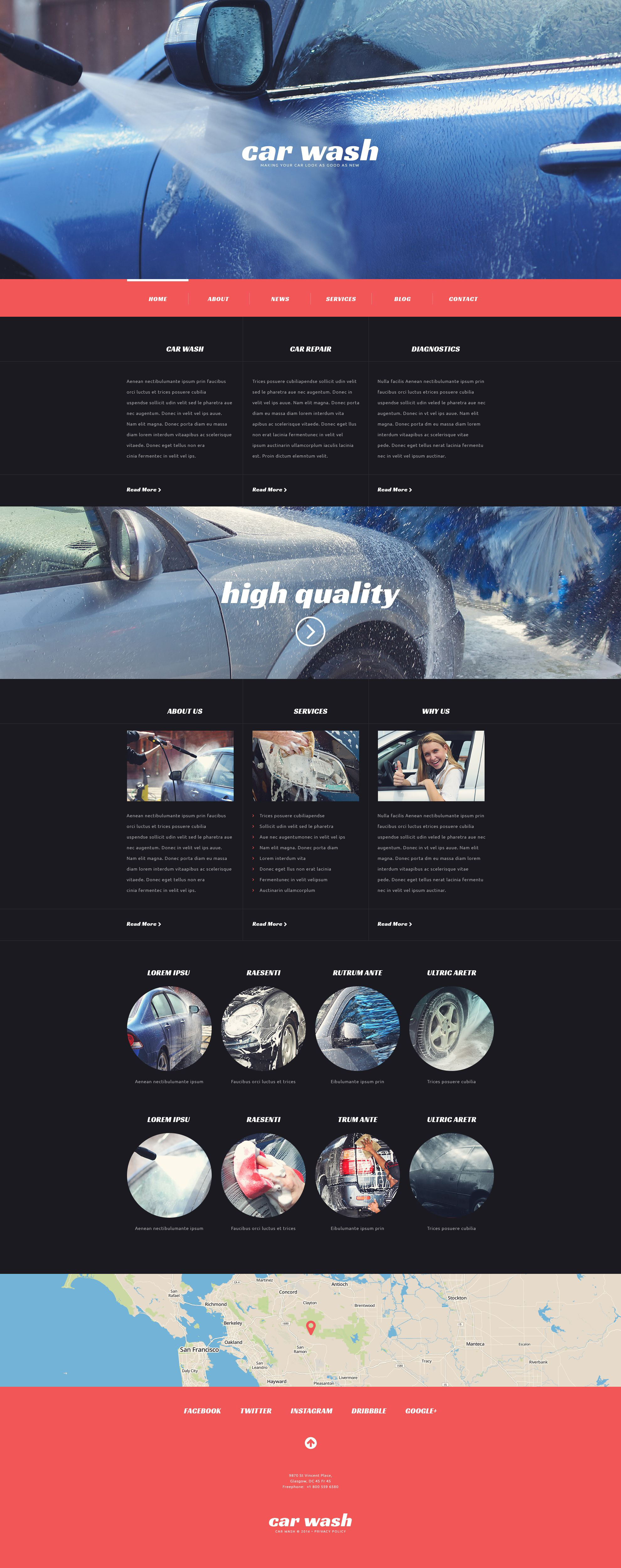 Tema De WordPress Responsive para Sitio de Lavado de autos #54042