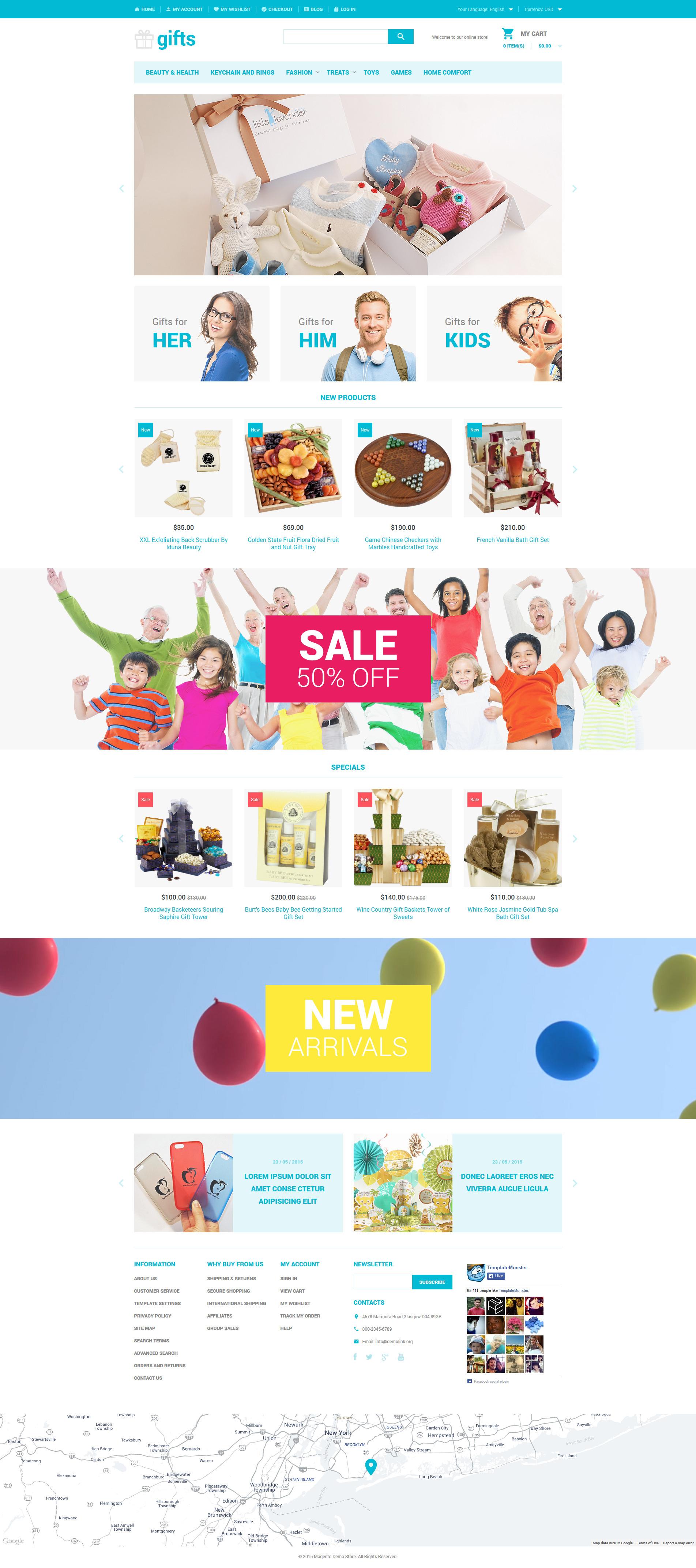 """Tema Magento """"Unique Gifts"""" #54054 - captura de pantalla"""