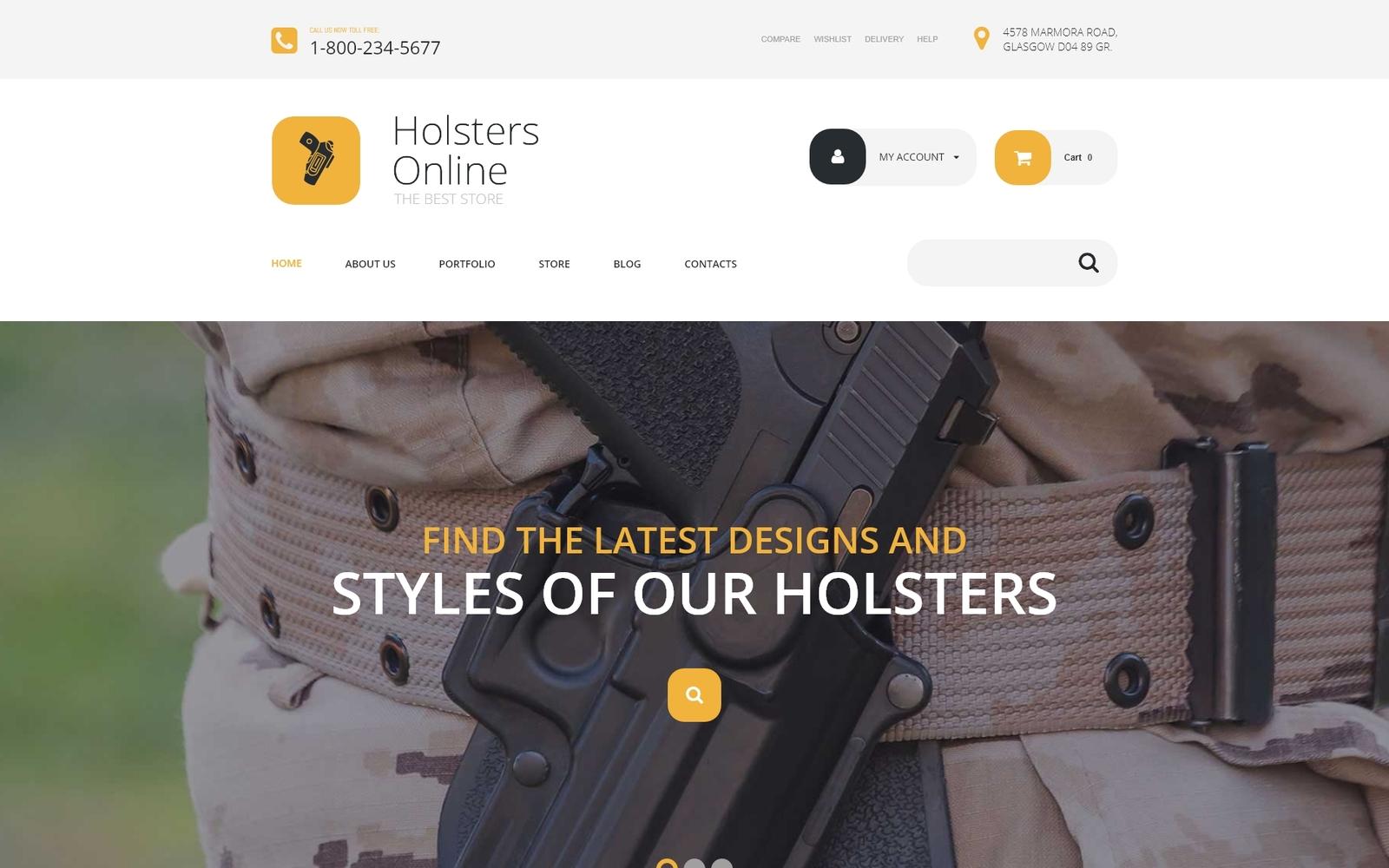 "Tema WooCommerce ""Holsters Online Store"" #54049"