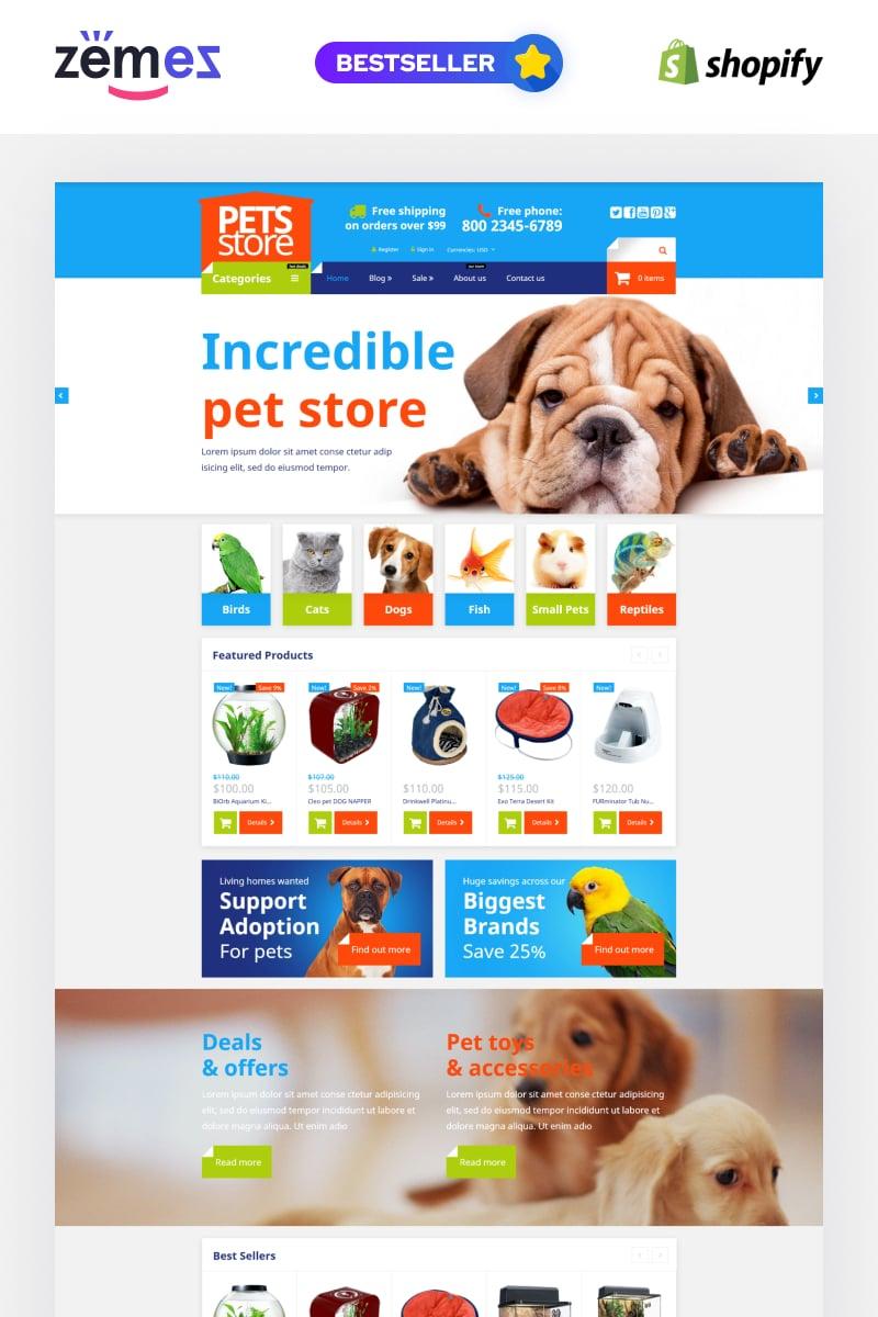 Template Shopify Responsive #54004 per Un Sito di Negozio di Animali