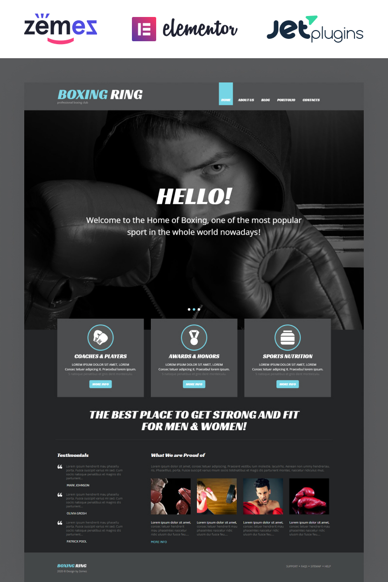 Thème WordPress adaptatif pour site de boxe #54034