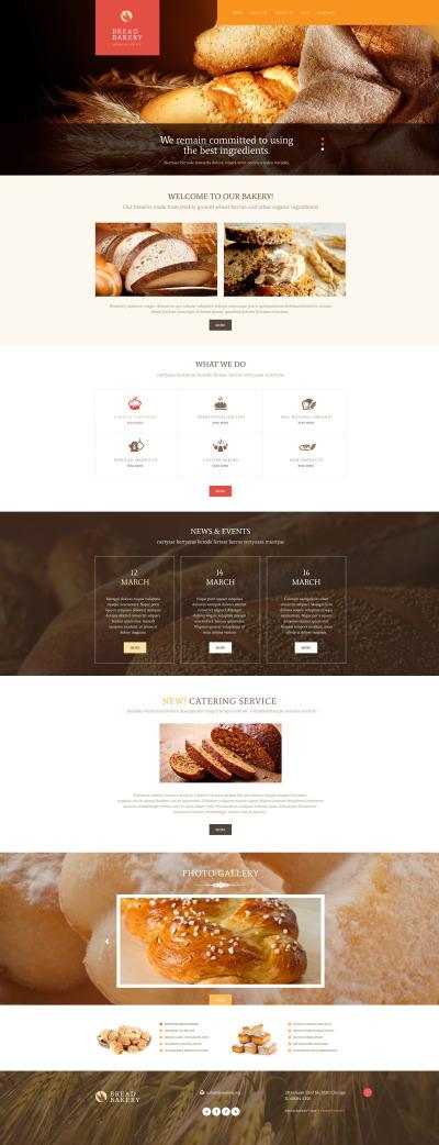 Адаптивный WordPress шаблон №54000 на тему хлебобулочные изделия