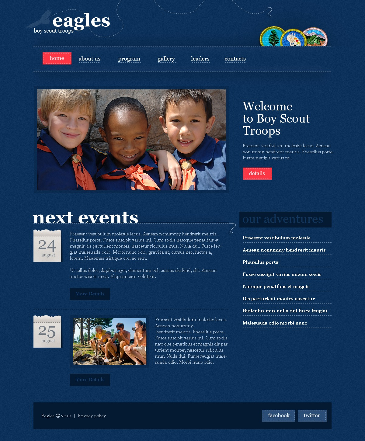 The Eagles Boy PSD Design 54102, one of the best PSD templates of its kind (society & culture, wide), also known as eagles boy PSD template, scout PSD template, troop PSD template, boy PSD template, adventure PSD template, organization PSD template, foundation PSD template, program PSD template, education PSD template, uniform PSD template, activity PSD template, nature and related with eagles boy, scout, troop, boy, adventure, organization, foundation, program, education, uniform, activity, nature, etc.