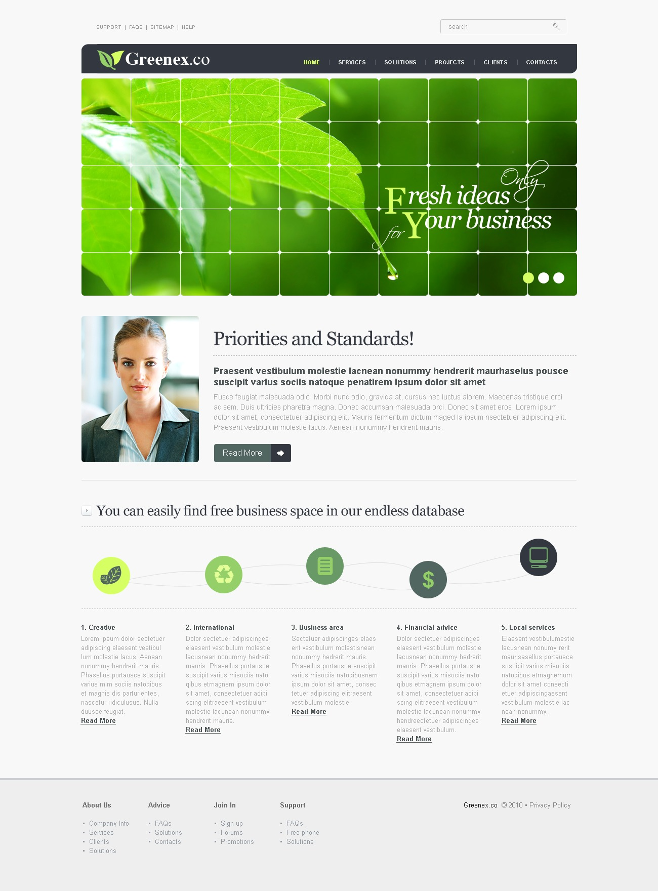 The Greenex Business Company PSD Design 54108, one of the best PSD templates of its kind (business, flash 8, wide), also known as greenex business company PSD template, corporate solutions PSD template, innovations PSD template, contacts PSD template, service PSD template, support PSD template, information dealer PSD template, stocks PSD template, team PSD template, success PSD template, money PSD template, marketing PSD template, director PSD template, manager PSD template, analytics PSD template, planning PSD template, limited PSD template, office PSD template, sales and related with greenex business company, corporate solutions, innovations, contacts, service, support, information dealer, stocks, team, success, money, marketing, director, manager, analytics, planning, limited, office, sales, etc.