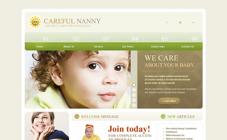Szablon PSD #54110 na temat: opiekunka do dzieci New Screenshots BIG
