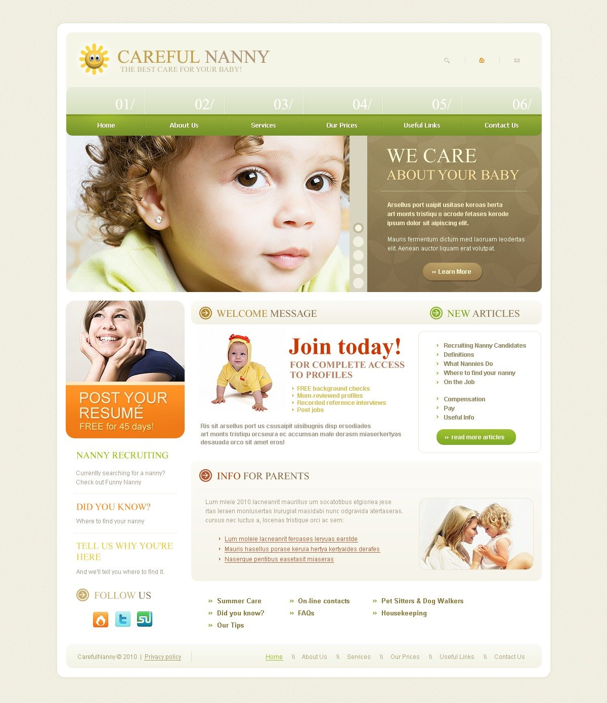 The Careful Nanny PSD Design 54110, one of the best PSD templates of its kind (family, flash 8, wide), also known as careful nanny PSD template, baby-sitter PSD template, nurse PSD template, baby PSD template, children PSD template, child PSD template, kids PSD template, parents PSD template, family care PSD template, help PSD template, resume PSD template, services company PSD template, profile PSD template, prices PSD template, order PSD template, harmony PSD template, hearth PSD template, home PSD template, relationship PSD template, close care PSD template, happiness PSD template, education PSD template, youth PSD template, health PSD template, advices PSD template, events PSD template, entertainment PSD template, information PSD template, support and related with careful nanny, baby-sitter, nurse, baby, children, child, kids, parents, family care, help, resume, services company, profile, prices, order, harmony, hearth, home, relationship, close care, happiness, education, youth, health, advices, events, entertainment, information, support, etc.