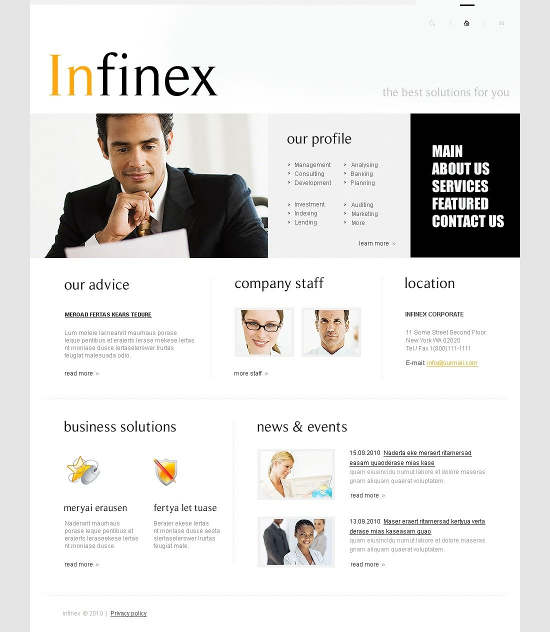 The Infinex Business Company PSD Design 54115, one of the best PSD templates of its kind (business, wide, jquery, white), also known as infinex business company PSD template, corporate solutions PSD template, innovations PSD template, contacts PSD template, service PSD template, support PSD template, information dealer PSD template, stocks PSD template, team PSD template, success PSD template, money PSD template, marketing PSD template, director PSD template, manager PSD template, analytics PSD template, planning PSD template, limited PSD template, office PSD template, sales and related with infinex business company, corporate solutions, innovations, contacts, service, support, information dealer, stocks, team, success, money, marketing, director, manager, analytics, planning, limited, office, sales, etc.