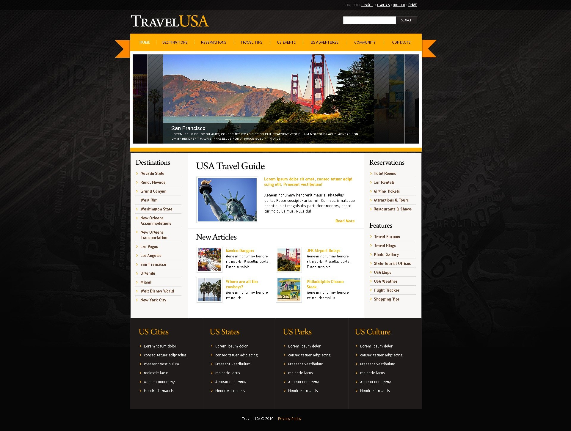 The Travel USA Agency Online Store PSD Design 54116, one of the best PSD templates of its kind (travel, most popular, wide, jquery), also known as travel USA agency online store PSD template, tourist PSD template, equipment PSD template, rucksack PSD template, knapsack PSD template, tent PSD template, mountaineering PSD template, mountain PSD template, climbing PSD template, Alpinism products PSD template, shopping cart PSD template, compass PSD template, Extreme Sports Fishing Water camping PSD template, reviews PSD template, children PSD template, world PSD template, navigation PSD template, ways PSD template, roads PSD template, food PSD template, new PSD template, models PSD template, travel PSD template, foot and related with travel USA agency online store, tourist, equipment, rucksack, knapsack, tent, mountaineering, mountain, climbing, Alpinism products, shopping cart, compass, Extreme Sports Fishing Water camping, reviews, children, world, navigation, ways, roads, food, new, models, travel, foot, etc.