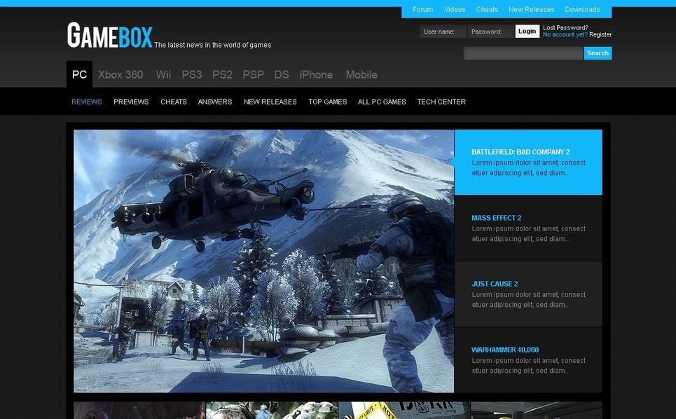 Játékok   PSD sablon New Screenshots BIG