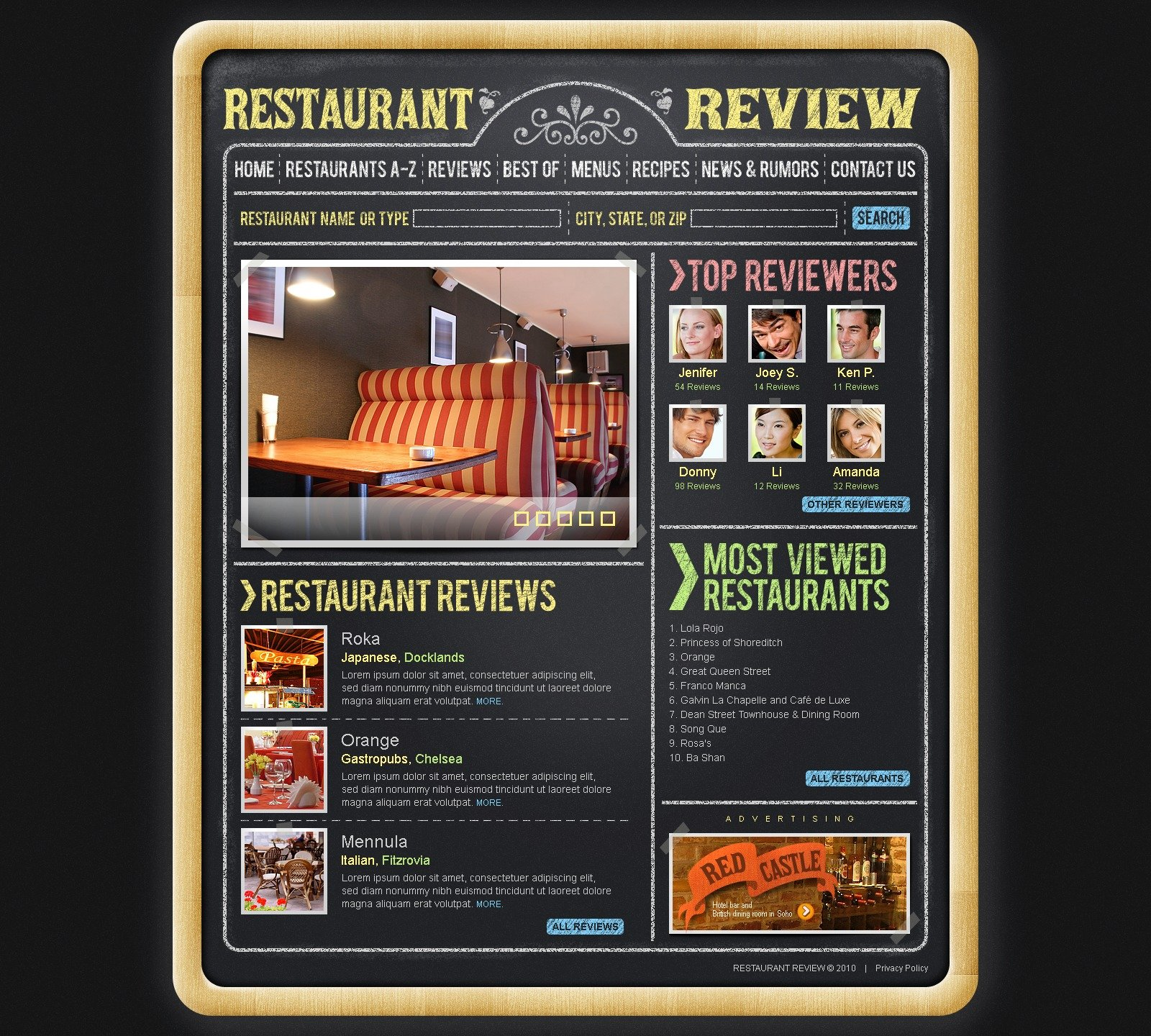 The Review Restaurant PSD Design 54122, one of the best PSD templates of its kind (cafe and restaurant, wide), also known as review restaurant PSD template, food PSD template, critic PSD template, reviewer PSD template, tasty PSD template, delicious PSD template, dish PSD template, menu PSD template, dining and related with review restaurant, food, critic, reviewer, tasty, delicious, dish, menu, dining, etc.