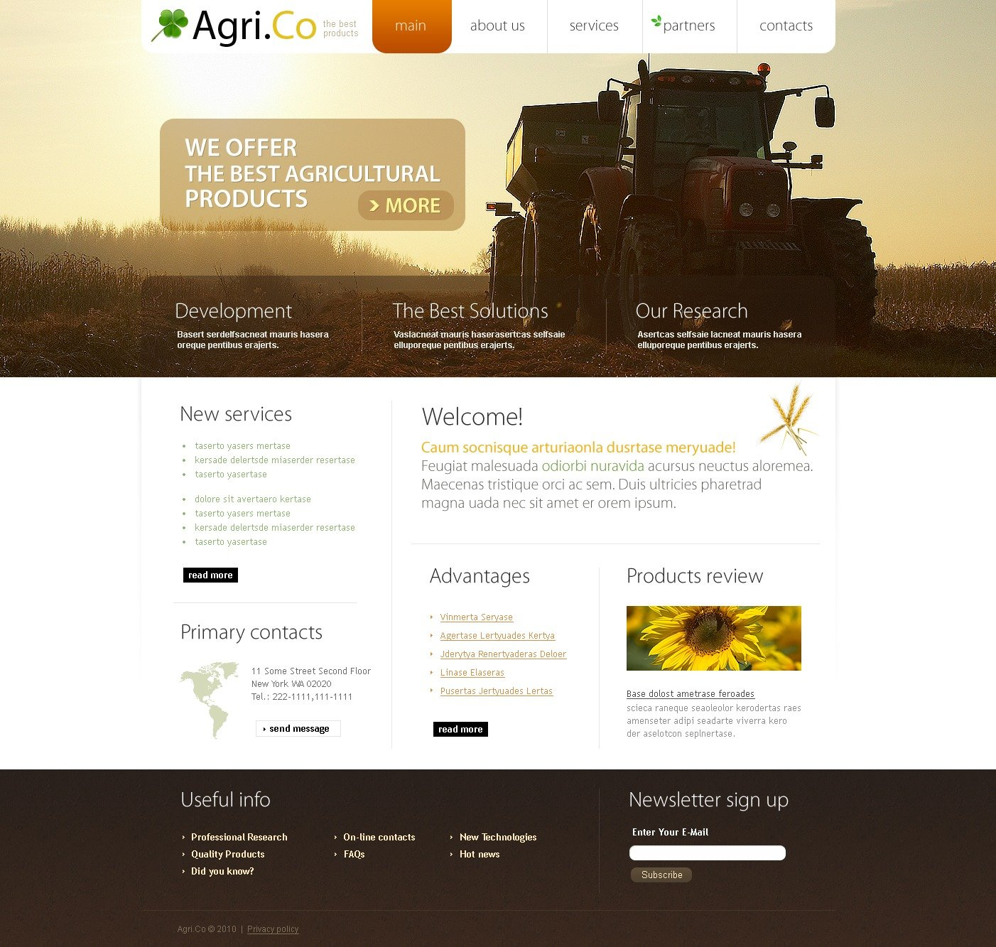 The Agri Company PSD Design 54124, one of the best PSD templates of its kind (agriculture, wide, jquery), also known as agri company PSD template, agriculture company PSD template, business PSD template, grain-crops PSD template, cereals PSD template, field PSD template, combine PSD template, harvest PSD template, farming PSD template, plants PSD template, services PSD template, products solutions PSD template, market PSD template, delivery PSD template, resource PSD template, grassland PSD template, equipment PSD template, nitrates PSD template, fertilizer PSD template, clients PSD template, partners PSD template, innovations PSD template, support PSD template, information dealer PSD template, stocks PSD template, team and related with agri company, agriculture company, business, grain-crops, cereals, field, combine, harvest, farming, plants, services, products solutions, market, delivery, resource, grassland, equipment, nitrates, fertilizer, clients, partners, innovations, support, information dealer, stocks, team, etc.