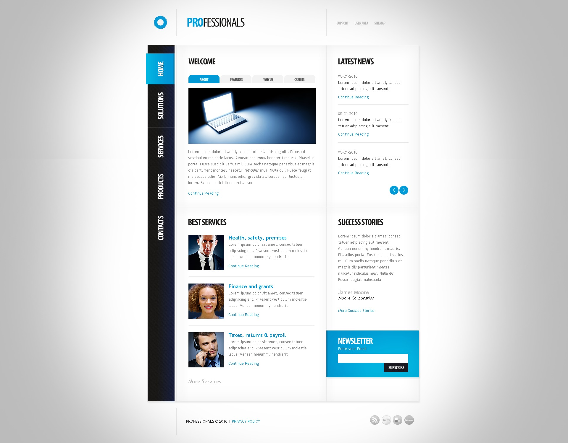The Professionals Business Company PSD Design 54127, one of the best PSD templates of its kind (business, wide, jquery), also known as professionals business company PSD template, corporate solutions PSD template, innovations PSD template, contacts PSD template, service PSD template, support PSD template, information dealer PSD template, stocks PSD template, team PSD template, success PSD template, money PSD template, marketing PSD template, director PSD template, manager PSD template, analytics PSD template, planning PSD template, limited PSD template, office PSD template, sales and related with professionals business company, corporate solutions, innovations, contacts, service, support, information dealer, stocks, team, success, money, marketing, director, manager, analytics, planning, limited, office, sales, etc.
