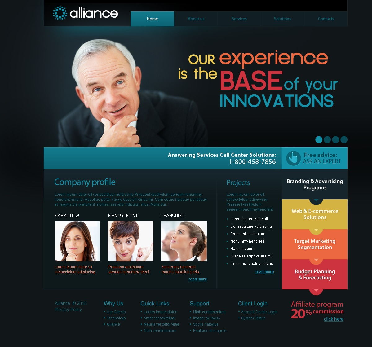 The Alliance Business Company PSD Design 54139, one of the best PSD templates of its kind (business, flash 8, wide), also known as alliance business company PSD template, corporate solutions PSD template, innovations PSD template, contacts PSD template, service PSD template, support PSD template, information dealer PSD template, stocks PSD template, team PSD template, success PSD template, money PSD template, marketing PSD template, director PSD template, manager PSD template, analytics PSD template, planning PSD template, limited PSD template, office PSD template, sales and related with alliance business company, corporate solutions, innovations, contacts, service, support, information dealer, stocks, team, success, money, marketing, director, manager, analytics, planning, limited, office, sales, etc.