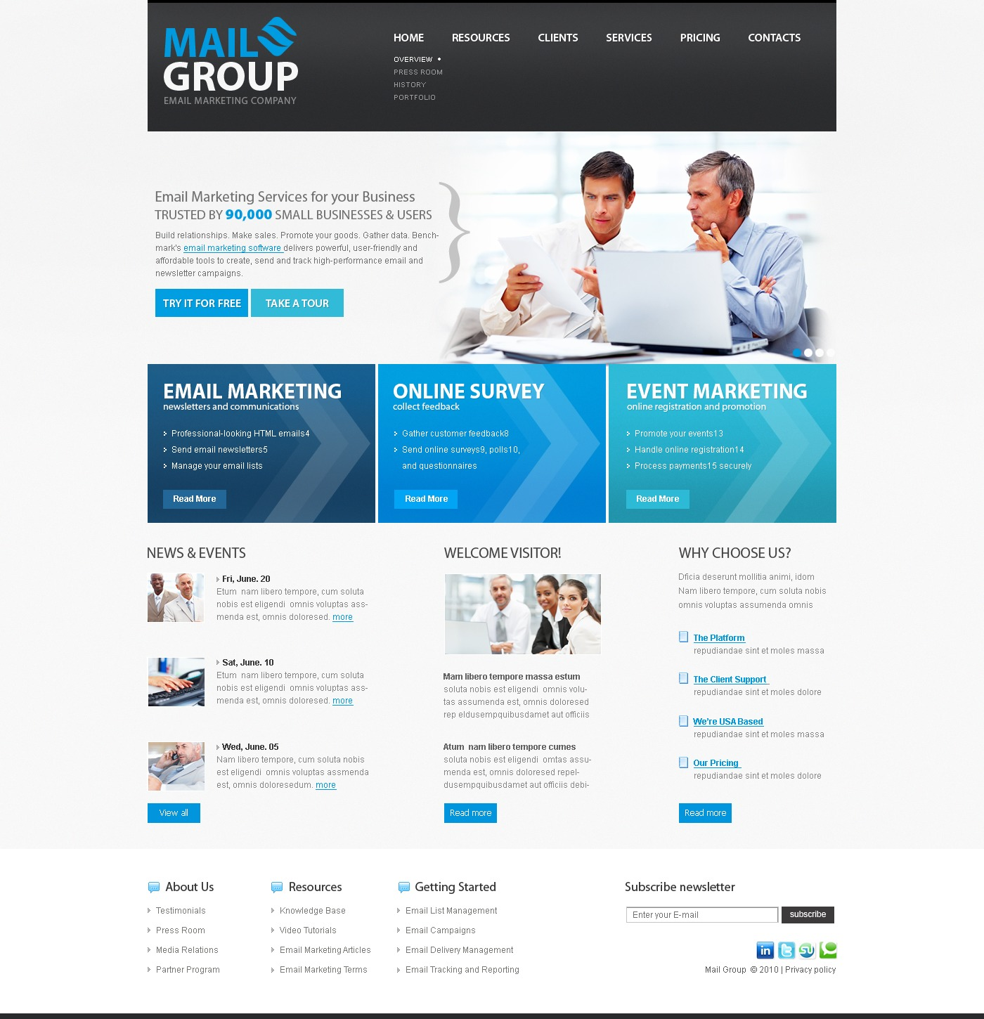 The Mail Group PSD Design 54147, one of the best PSD templates of its kind (business, internet, wide), also known as mail group PSD template, email PSD template, marketing company PSD template, business PSD template, services PSD template, online survey PSD template, events and related with mail group, email, marketing company, business, services, online survey, events, etc.