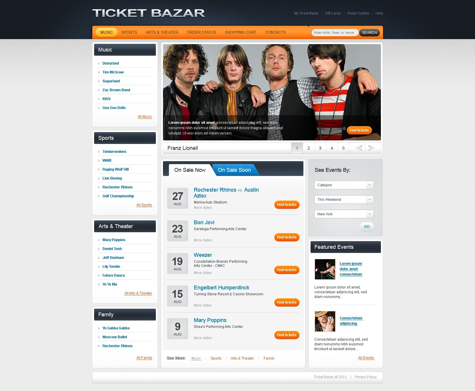 The Ticket Bazar PSD Design 54151, one of the best PSD templates of its kind (portal, entertainment, most popular, wide, jquery), also known as ticket bazar PSD template, online portal PSD template, music PSD template, concerts PSD template, sports PSD template, art PSD template, theatre PSD template, cinema PSD template, movies PSD template, TV family PSD template, sale PSD template, performance PSD template, categories PSD template, events PSD template, reservation PSD template, exchange PSD template, date PSD template, cancellation PSD template, interest PSD template, order PSD template, discount PSD template, highlights PSD template, services PSD template, searching and related with ticket bazar, online portal, music, concerts, sports, art, theatre, cinema, movies, TV family, sale, performance, categories, events, reservation, exchange, date, cancellation, interest, order, discount, highlights, services, searching, etc.