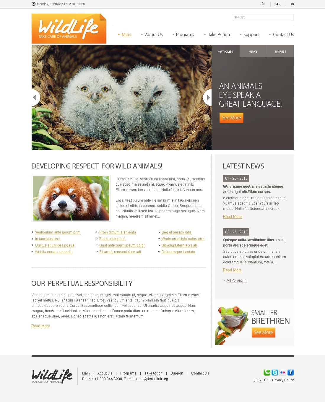 The Wild Life PSD Design 54158, one of the best PSD templates of its kind (animals & pets, flash 8, wide), also known as wild life PSD template, animals PSD template, fund PSD template, life PSD template, nature PSD template, wildlife PSD template, photos PSD template, gallery PSD template, events PSD template, archive PSD template, links PSD template, individuality PSD template, guestbook PSD template, journal PSD template, visitors PSD template, opinion PSD template, discussion blogroll PSD template, nature PSD template, environment PSD template, ecology PSD template, roe PSD template, deer PSD template, tiger PSD template, stork PSD template, pigeon PSD template, dolphin PSD template, lion PSD template, lynx PSD template, bobcat PSD template, relief PSD template, fund PSD template, preservation PSD template, w and related with wild life, animals, fund, life, nature, wildlife, photos, gallery, events, archive, links, individuality, guestbook, journal, visitors, opinion, discussion blogroll, nature, environment, ecology, roe, deer, tiger, stork, pigeon, dolphin, lion, lynx, bobcat, relief, fund, preservation, w, etc.
