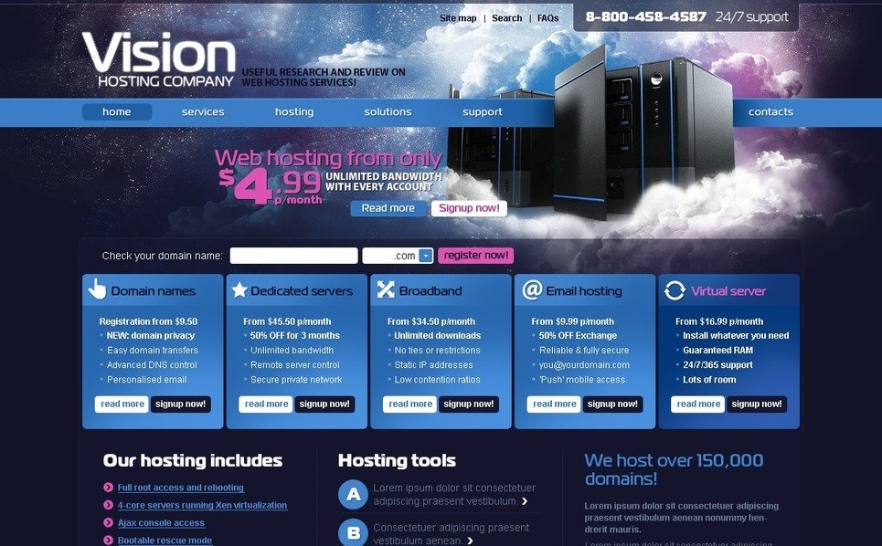 Szablon PSD #54164 na temat: hosting New Screenshots BIG