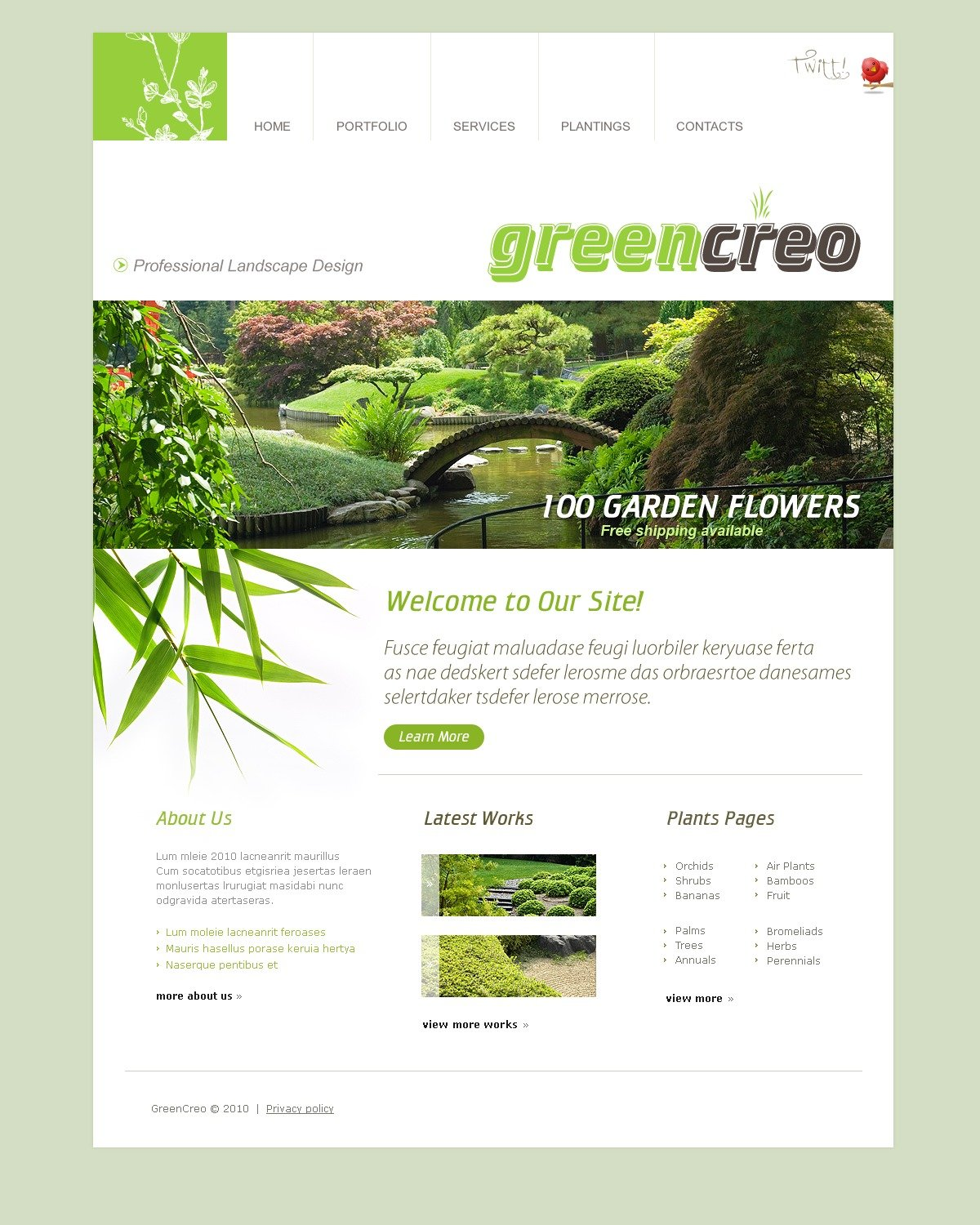 The Green Creo PSD Design 54165, one of the best PSD templates of its kind (exterior design, most popular, flash 8, wide), also known as green creo PSD template, exterior design bureau PSD template, landscape PSD template, grass PSD template, clipper PSD template, lawn-mover PSD template, grass-cutter PSD template, lawn PSD template, garden PSD template, herb PSD template, shrub PSD template, tree PSD template, palm PSD template, planting PSD template, bamboo PSD template, fern company PSD template, profile PSD template, testimonials PSD template, education PSD template, work PSD template, team PSD template, staff PSD template, services PSD template, commercial PSD template, clients PSD template, residential PSD template, special technologies PSD template, des and related with green creo, exterior design bureau, landscape, grass, clipper, lawn-mover, grass-cutter, lawn, garden, herb, shrub, tree, palm, planting, bamboo, fern company, profile, testimonials, education, work, team, staff, services, commercial, clients, residential, special technologies, des, etc.